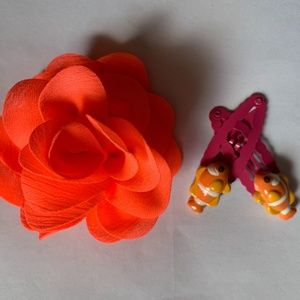 Gymboree Floral Reef Clown Fish Barrettes and Bow